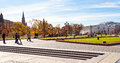View of manege square in moscow in autumn russia october manezhnaya on october large pedestrian area center Stock Images