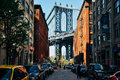 A view of Manhattan bridge from Dumbo. Royalty Free Stock Photo