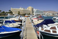 View on marina with docked yachts in Eilat Royalty Free Stock Image