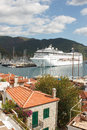 View of marina in marmaris from castle to tiled roofs yacht and cruise liner city turkey Royalty Free Stock Photography
