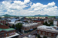 View of the market district area in roanoke virginia va june center square with mountains background on a sunny summer day from Royalty Free Stock Images
