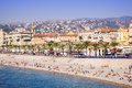 View of Marseille beach full of tourists in autumn, France Royalty Free Stock Photo