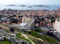View of Marseilles and Frioul islands, France Stock Photography