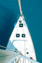 View from the mast top on a sailing yacht on a sea background Royalty Free Stock Photos