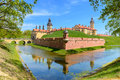 View on medieval castle nesvizh moat with water and fortress wa town belarus Royalty Free Stock Photo