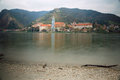 View of the medieval monastery Duernstein on the river Danube. Wachau valley, Lower Austria