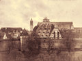 View of the medieval town beyond the pinion wall retro toned rothenburg bavaria germany Stock Images