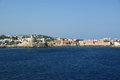 View of the medieval town of rhodes from the sea Royalty Free Stock Photos