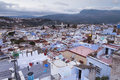 View of medina blue town chefchaouen morocco Stock Images