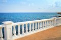 View of the mediterranean beautiful seascape with white balcony Stock Image