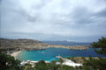 View Mediterranean sea from ancient Lindos ruins at Rhodes, Greece. Royalty Free Stock Photo
