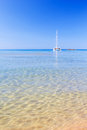 View on mediterranean sea with crystal clean water from cala del pilar beach at menorca spain Royalty Free Stock Photos
