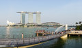 View of merlion park with marina bays in singapore Stock Photography