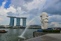 View of Merlion at sunny day in Singapore