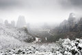 View of Meteora from above in winter, Greece Royalty Free Stock Image