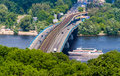 View of Metro bridge over Dnieper, Kiev Stock Photo