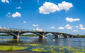View of metro bridge over dnieper in kyiv ukraine Royalty Free Stock Photography