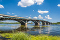 View of metro bridge over dnieper in kyiv ukraine Royalty Free Stock Photos