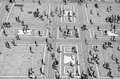 View from milan cathedral duomo di milano people in the square black and white Stock Photography