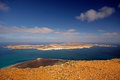 View from mirador del rio in lanzarote to small island la graciosa Stock Photos