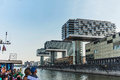 View of modern buildings on the waterfront cologne. Royalty Free Stock Photo