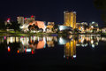 View on modern city at night adelaide south australia australia Stock Image
