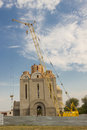 View modern orthodoxy church under construction uman ukraine europe Stock Photo