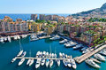 View on monaco harbor of overseeing the town and Royalty Free Stock Images