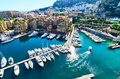 View on monaco harbor of overseeing the town and Stock Image