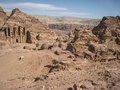 View of The monastery or Ad Deir at Petra. Jordan Royalty Free Stock Images