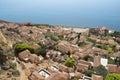 View of monemvasia from hillside monemvasia's stone houses Stock Photo