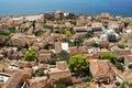 View of monemvasia from hillside monemvasia's stone houses Royalty Free Stock Image
