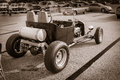 view of monochrome old classic hot rod classic retro car Royalty Free Stock Photo
