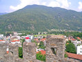 View from montebello castle in bellinzona switzerland on the mountain and town Stock Image