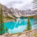 View at the Moraine Lake in Canadian Rocky Mountains near Banff - Alberta,Canada Royalty Free Stock Photo