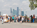 View of the Moscow City and a lot of tourists, Moscow Royalty Free Stock Photo