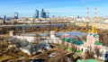 View of Moscow from Novodevichy convent. Moscow City in the dist Royalty Free Stock Photo
