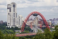 View of moscow and the red bridge over the moscow river picturesque is a cable stayed across opened on december Royalty Free Stock Photography
