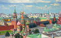 View on Moscow Red Square, Kremlin towers, Clock Kuranti, Saint Basil`s Cathedral church, Lenin mausoleum. Panorama Hotel Russia.
