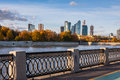 View on the moscow river embankment and scyscrapers of city business center russia Stock Images