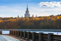 View on the moscow river embankment and scyscrapers lomonosov state university russia Royalty Free Stock Photos