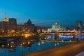 View of moscow river at night white house and embankment russia Stock Photography