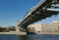 View of moscow russia pushkinsky andreyevsky pedestrian bridge Royalty Free Stock Photography