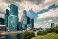 View of the Moskva River with skyscrapers of Moscow-City Royalty Free Stock Photo