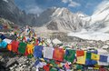 View from Mount Everest base camp with prayer flags