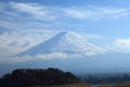 View of mount fuji from kawaguchiko lake in march snow capped with clear sky background Royalty Free Stock Photos