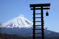 View of mount fuji from saiko iyashino sato nenba healing village in march Royalty Free Stock Images