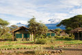 View at mount kilimanjaro from campsite kenya Royalty Free Stock Images