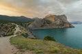 View on Mount Koba-Kaya from Cape Kapchik in Black Sea. Crimea. Royalty Free Stock Photo