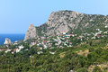 View of mount koshka and simeiz settlement in crimea on the coast black sea Royalty Free Stock Photo